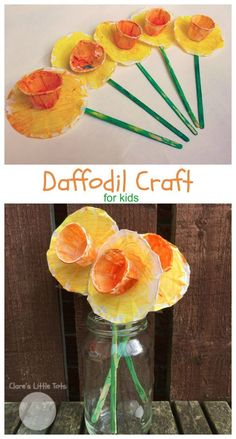 daffodil craft idea for toddlers and preschoolers. Fun daffodil craft for toddlers and preschoolers. Perfect spring craft or idea for St David's Day. Daycare Crafts, Preschool Crafts, Easter Crafts, Fun Crafts, Ocean Crafts, Flower Craft Preschool, Classroom Crafts, Baby Crafts, Preschool Ideas