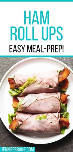 What could be an easier or more delicious low carb lunch than Ham Roll Ups?  I love to make these with Hillshire Farm® Black Forest Ham that I get from WalMart on the lunchmeat wall! Paleo Keto Recipes, Bacon Recipes, Low Carb Recipes, Real Food Recipes, Diet Recipes, Yummy Recipes, Easy Meal Prep, Quick Meals, Healthy Meals