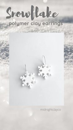 White gltter snowflake polymer clay earrings. Dangle earrings with silver earring hoops. Cute earring for the winter. Wear to a holiday party, christmas event, or as an accessory to an ugly christmas sweater. Shop small and support small businesses this holiday season. Shop these unique handmade earrings in my etsy shop! White Earrings, Unique Earrings, Earrings Handmade, Dangle Earrings, How To Clean Earrings, Unique Gifts For Her, Holiday Jewelry, Jewelry For Her, Sweater Shop