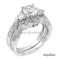 WOMEN'S 2.50 CT ROUND BRILLIANT CUT CZ .925 STERLING SILVER WEDDING RING SET #2pcSet