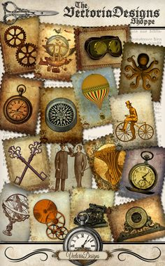 Steampunk Stamps postage stamps letters hobby by VectoriaDesigns