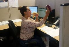 """No matter what is going on in your life, don't get caught doing the """"deep throat banana"""" selfie in your cubicle. #smilingtimes lol"""