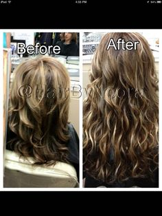 Hair extensions before/after