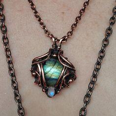 Rainbow moonstone and labradorite wire wrapped copper pendant wrapping anti tarnish square light cabochon pendant