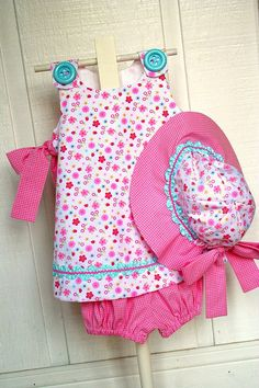 Baby playset with hat    Pattern is McCall's 2213. Fabrics are both by Fabric Finders