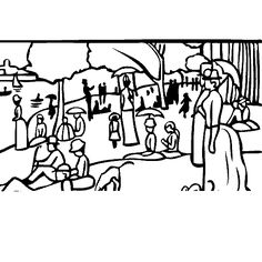 Masterpiece Coloring Page--Free printable-Georges Seurat