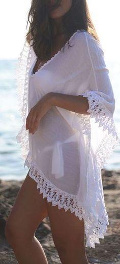 new V neck Beach Kaftan dress Swimwear Sarongs Sexy Bikini white sweet lace side Bathing Suit Cover up women loose swimsuit Sexy Bikini, Bikini Modells, Bikini Cover Up, Lace Bikini, Swimsuit Cover Ups, Crochet Bikini, Lace Swimsuit, Bikini Dress, White Swimsuit