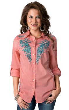 Roar® Women's Aquarius II Coral with Turquoise Embroidery 3/4-Long Sleeve Western Shirt