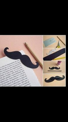 .Mustache book mark .good for back.to.school