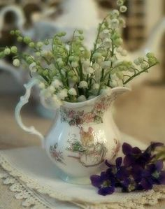 Lily of the Valley in a Brambley Hedge Creamer by Royal Albert.~ Mary Wald's Place - With thy Needle & Thread: Green & Luscious. Lily Of The Valley Bouquet, Valley Flowers, Brambly Hedge, Hedges, Belle Photo, Planting Flowers, Floral Arrangements, Beautiful Flowers, At Least