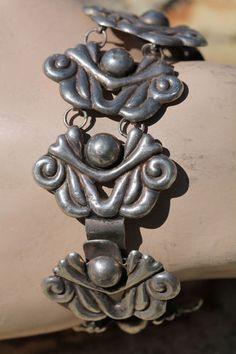 Vintage 1950's Mexican Sterling Silver Repousse Modernist Link Bracelet | eBay