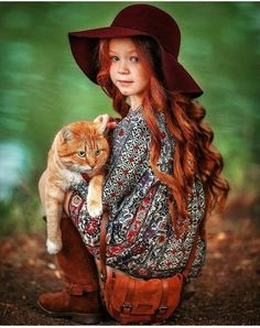 Her beautiful red hair catches the eye first! Animals For Kids, Animals And Pets, Baby Animals, Cute Animals, Beautiful Red Hair, Beautiful Redhead, Beautiful Children, Beautiful Babies, Cute Kids