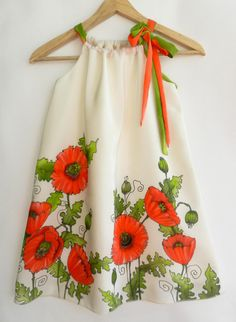 Red poppy dress. Dress for girl.Hand painted by ArmeniaOnSilk