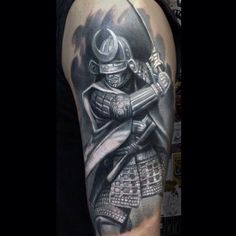Warrior tattoo designs have been associated with the symbol of strength, endurance, firmness, and struggle. They have been in the line to overcome impedime Tattoo P, Norse Tattoo, Viking Tattoos, Leg Tattoos, Body Art Tattoos, Tattoos For Guys, Japanese Warrior Tattoo, Japanese Mask Tattoo, Japanese Sleeve Tattoos