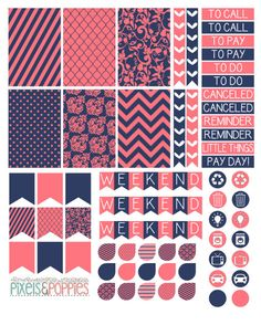 73 Coral & Navy Theme Stickers Planner by PixelsAndPoppiesShop