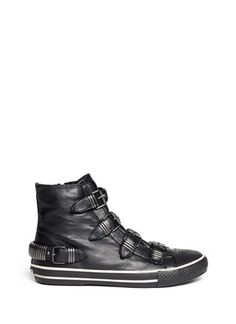 Known for its modern sneaker designs, Ash imbues urban glamour to this androgynous pair of high-tops. Crafted in smooth leather, this multi buckle set is fitted with metal loop chains that exude a touch of intangible cool.Known for its modern sneaker designs, Ash imbues urban glamour to this androgynous pair of high-tops. Crafted in smooth leather, this multi buckle set is fitted with metal loop chains that exude a touch of intangible cool.