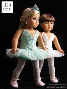"""Born to dance! Make just-like-the-real-thing ballet performance costumes for American Girl doll dancers using Lee & Pearl Pattern #1073: Prima Ballerina Strapless Bodice and Classical Tutu with Basque and Panty for 18"""" Dolls. Find this breathtaking pattern in the Lee & Pearl Etsy store at https://www.etsy.com/listing/271744290/lp-1073-prima-ballerina-strapless-bodice — or get the combo BALLET PERFORMANCE bundle at https://www.etsy.com/listing/271748202/ballet-performance-bundle-for-18-dolls"""