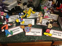 Mickey Mouse Birthday party food labels.  I plan Disney, please follow me!  Courtney@travelwiththemagic.com