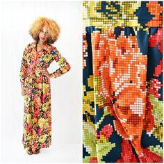 vintage 70s FLORAL PIXEL maxi dress size S by PasseNouveauVintage, $42.00