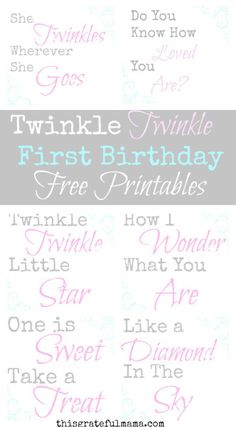 Twinkle Twinkle Little Star First Birthday Free Printables   thisgratefulmama.com