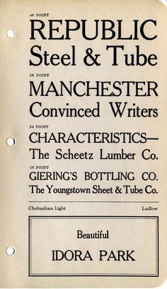 Cheltenham Light type specimen