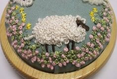 i love french knots and i love sheep. how cute is this?