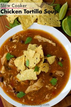This Slow Cooker Chicken Tortilla Soup Recipe is AMAZING. If you love Mexican food, this is your kind of soup! Can be made on the stove too!