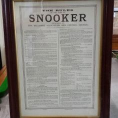 Vintage framed snooker rules | Browns Antiques Billiards and Interiors.