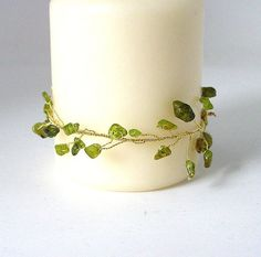Peridot and Gold Candle Holder by Pookledo on Etsy, £5.00