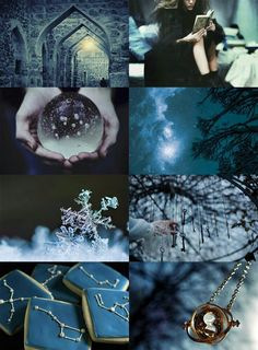 Hogwarts Houses as the seasons of the year Ravenclaw as winter Season of the cold mind and long evenings, time for books and learning the geometry of snowflakes Ravenclaw, Witch Aesthetic, Aesthetic Collage, Blue Aesthetic, Deco Harry Potter, Photocollage, Harry Potter Aesthetic, Seasons Of The Year, Hogwarts Houses