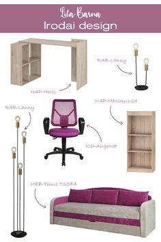 Egy igazán csajos iroda berendezési ötletet hoztunk ma nektek. Ha tetszik ez az összeállítás, akkor az elemeit külön-külön meg tudod rendelni webáruházunk kínálatából.#office#officedesign#ideas#officefurniture#sofa#chair#kanapé#ruhafogas#forgószék#íróasztal#desk#polc#shelf#iroda#irodadesign#irodabútor#íróasztalilámpa#lila#purple#barna#brown#ideas Ravenna, Office, Modern, Home Decor, Trendy Tree, Decoration Home, Room Decor, Home Interior Design, Home Decoration