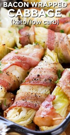 Cabbage - Bacon Wrapped Cabbage it both low carb and keto friendly. Just a few simple ingredients, cabbage wrapped in bacon and cooked to tender perfection is the perfect side dish for any meal! Bacon Recipes, Vegetable Recipes, Low Carb Recipes, Diet Recipes, Cooking Recipes, Healthy Recipes, Healthy Foods, Savory Foods, Low Carb Side Dishes