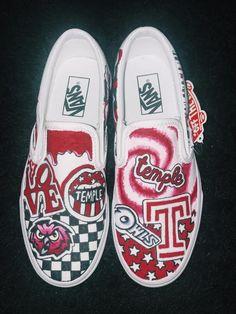 c6db852600 Temple University custom college shoes. College ShoesPainted VansDiy ...