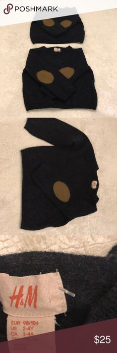 Kids 50% wool 50% cashmere sweaters 2 available, great for twins! Size 2-4 Dark navy ish/ grey ish color Beige oval on elbows Price listed is per item NWOT H&M Shirts & Tops Sweaters