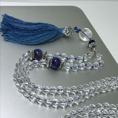 Japamala - necklace - crystal quartz and lapis-lazuli gemstone - Pure silk tassel - 108 beads.