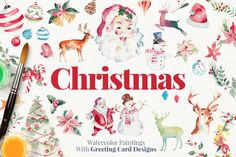 Christmas Paintings + Bonus by Emine Gayiran on Creative Market
