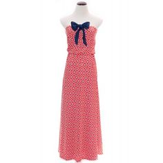 Red and Navy Leighton Maxi Game Day Dress