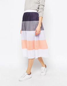 Image 4 of ASOS Pleated Midi Skirt in Colour Block