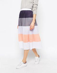 Image 4 ofASOS Pleated Midi Skirt in Colour Block