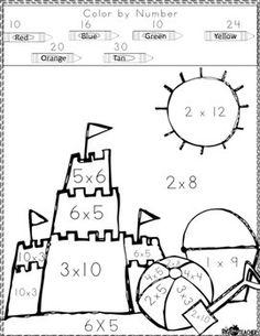 multiplication color by number monkey printable math worksheets third grade math. Black Bedroom Furniture Sets. Home Design Ideas