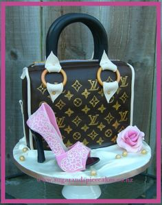 Louis Vuitton inspired handbag cake with edible stiletto Designer cakes, cupcakes and sugarcraft by Mel SugarMama in Auckland http://www.sugarandspicecakes.co.nz