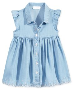 First Impressions Flutter-Sleeve Denim Dress, Baby Girls, Created for Macy's - Dresses - Kids & Baby - Macy's