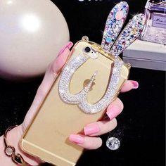Luxury Diamond Rhinestones Folded Rabbit ears Soft TPU stand case For iphone 6s 4.7 6plus 5.5Inch phone cases