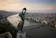 BUDAPEST, Hungary - The windswept Liberty Statue, overlooking the city. Aerial views of Europe taken from a drone - in pictures Bratislava, Drones, Quadcopter Drone, Little Paris, Aerial Drone, Belle Villa, Aerial Photography, Aerial View, Statue Of Liberty