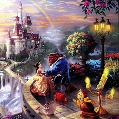 """Beauty and the Beast Falling in Love (Disney Dreams VI) Thomas Kinkade 14""""x14"""" Gallery Wrapped Lithograph on Canvas artwork"""