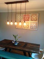 5 Bulb Reclaimed Wood Chandelier Modern Industrial Pendant Rustic Ceiling Light