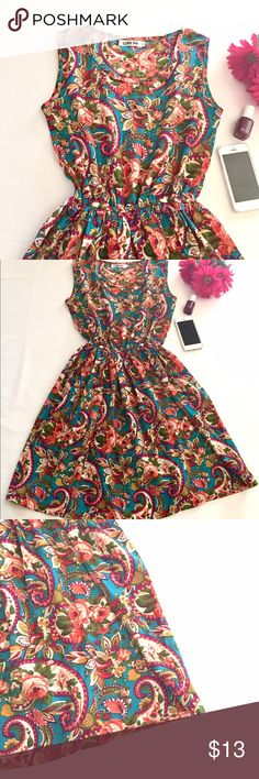 """Boutique Floral Print Dress size small Lovely floral print sleeveless dress.  Elastic waistband. Light polyester fabric.  Armpit to armpit 16""""length 34"""" Dresses"""