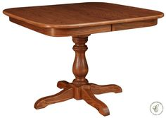 Our Leopard Creek Pedestal Dining Table, though pictured in Oak with our Cinnamon Stick finish, is available in any offered wood and stain combination.
