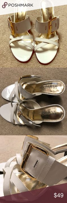 """Franco Sarto 8.5 white patent heels Franco Sarto 8.5 white patent heels with gold hardware. Black sole with FS hallmark. Heels are approximately 3 1/2"""". Franco Sarto Shoes Sandals"""