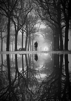 Strandvägen After Snow by Hannes R Black and white reflection !!! Bebe'!!! Love this!!!